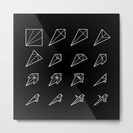 Origami Bird - Step by Step (White) Metal Print