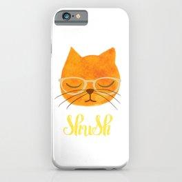 Shush - Hipster Cat in Glasses iPhone Case