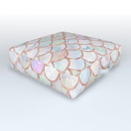 Pastel Memaid Scales Pattern Outdoor Floor Cushion
