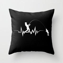 Fishing Heartbeat Cool Beat T-Shirt Great Gift For Fisherman Throw Pillow