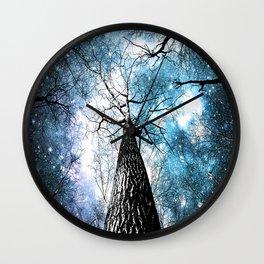 Wintry Trees Galaxy Skies Steel Teal Blue Wall Clock