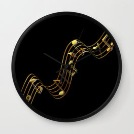 Golden Music Notes Wall Clock