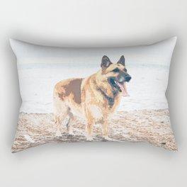 Long Tongue German Shepherd Dog On The Beach Rectangular Pillow