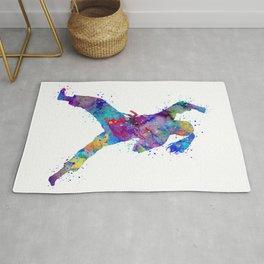 Karate Girl Martial Arts Colorful Watercolor Sports Art Rug