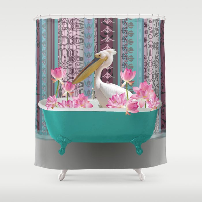 Bathtub with pelican and lotus flowers Shower Curtain
