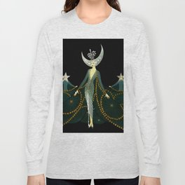"Art Deco Design ""Queen of the Night"" Long Sleeve T-shirt"