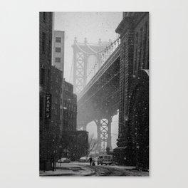 Manhattan Bridge in Snow Canvas Print