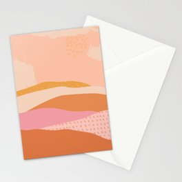 Pink Abstract Mountains - Landscape Stationery Cards