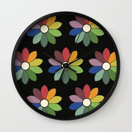 Flower pattern based on James Ward's Chromatic Circle (vintage wash) Wall Clock