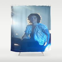 harry styles Shower Curtains featuring Harry Styles by Halle