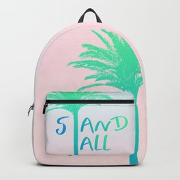 Stand Tall Palm Tree Beach Summer Vibes Blue and Pink Backpack