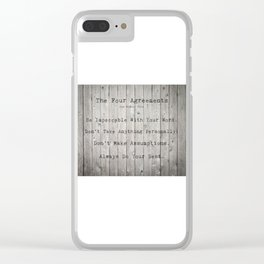 The Four Agreements Wood Background Clear iPhone Case