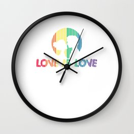 Adorable Love is Love Colorful Rainbow Silhouette Wall Clock