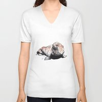 walrus V-neck T-shirts featuring Walrus by ZOO (William Redgrove)
