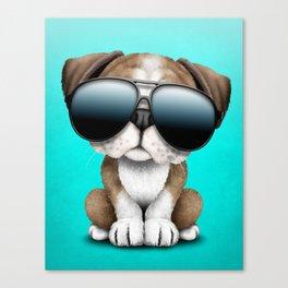 Cute British Bulldog Puppy Wearing Sunglasses Canvas Print