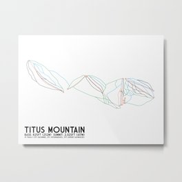 Titus Mountain, NY - Minimalist Trail Art Metal Print
