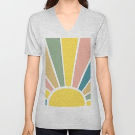 Retro Sun Ray Burst Unisex V-Neck