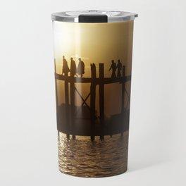 Monks on U Bein Bridge Travel Mug