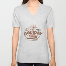 Christmas Holiday Merry & Bright co Unisex V-Neck
