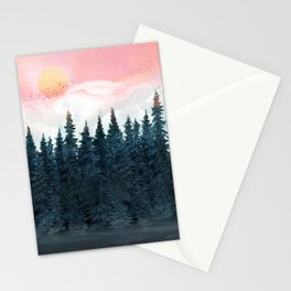 Forest Under the Sunset Stationery Cards