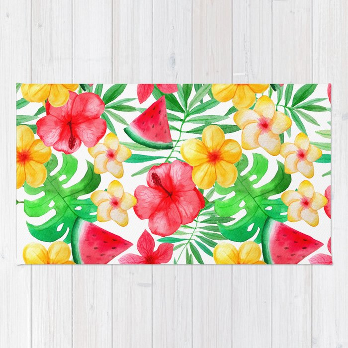 happy summer life aloha flowers and melon pattern rug by