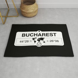 Bucharest Romania with World Map GPS Coordinates Rug
