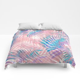 Palm Leaves - Iridescent Pastel Comforters