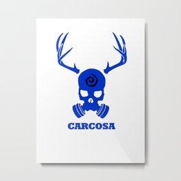 Carcosa Gas Mask Blue Metal Print
