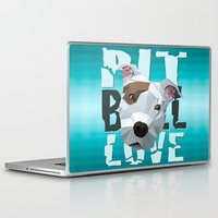 pit bull Laptop & iPad Skins featuring Pit Bull by Benjamin Ring