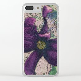 Dogwood Red-Violet on Tan Clear iPhone Case