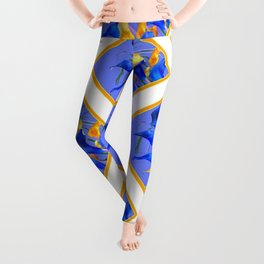 PATTERNED MODERN ABSTRACT BLUE & GOLD CALLA LILIES Leggings