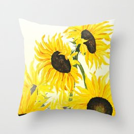 sunflower watercolor 2017 Throw Pillow