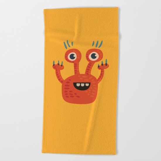 Funny Orange Happy Creature Beach Towel