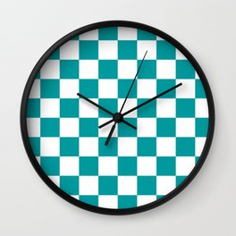 Blue, Teal: Checkered Pattern Wall Clock