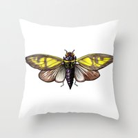 insect Throw Pillows featuring Insect by Freja Friborg