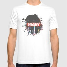 we need to DISOBEY White Mens Fitted Tee MEDIUM