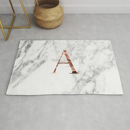 Monogram rose gold marble A Rug