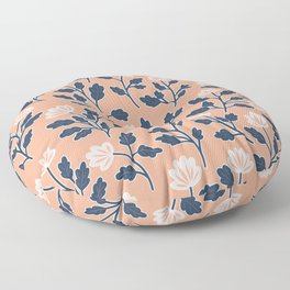 Vintage Style Floral | Coral and Navy Floor Pillow