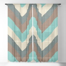 Willow in Teal Multi Sheer Curtain