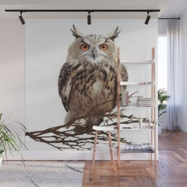 WILDERNESS BROWN OWL IN WHITE Wall Mural