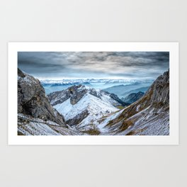 Stormy Mountains Landscape Art Print