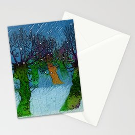 Nightfall snowing Stationery Cards