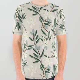 OLIVE BLOOM All Over Graphic Tee