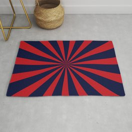 Retro dark blue and red sunburst style abstract background Rug