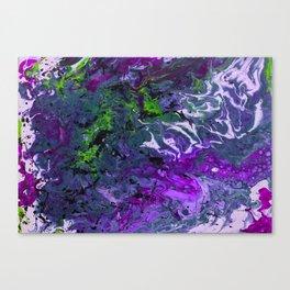 Purple green fluid abstract art Canvas Print