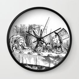 Vintage Alice in Wonderland Mad Hatter & rabbit tea party antique goth emo book gothic drawing print Wall Clock