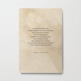 Haruki Murakami Quote 01 - Typewriter Quote on Old Paper - Minimalist Literary Print Metal Print
