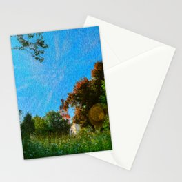 lokking towards a church Stationery Cards