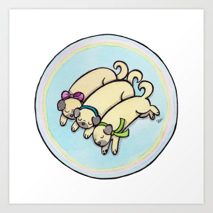 Snug as a Pug on a Rug Art Print