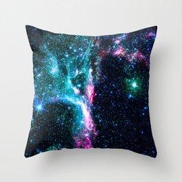 Beautiful Blue Glitter Star Galaxy Throw Pillow